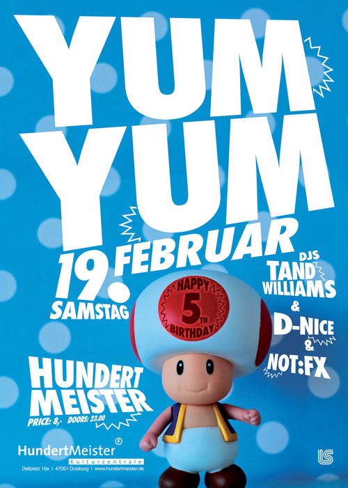YUM YUM this Saturday, Feb 19th @ 100Meister /// 5th Anniversary